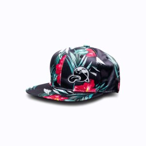DHFLY-Floral-signature-unisex-hat-w-snapback-closure-front
