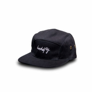 DHFLY-5-Panel-STAYFLY-unisex-hat-with-leather-strapbac-Closure-black_silver-front