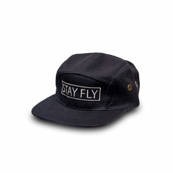DHFLY-5-panel-STAYFLY-Unisex-hat-leather-strapback-front