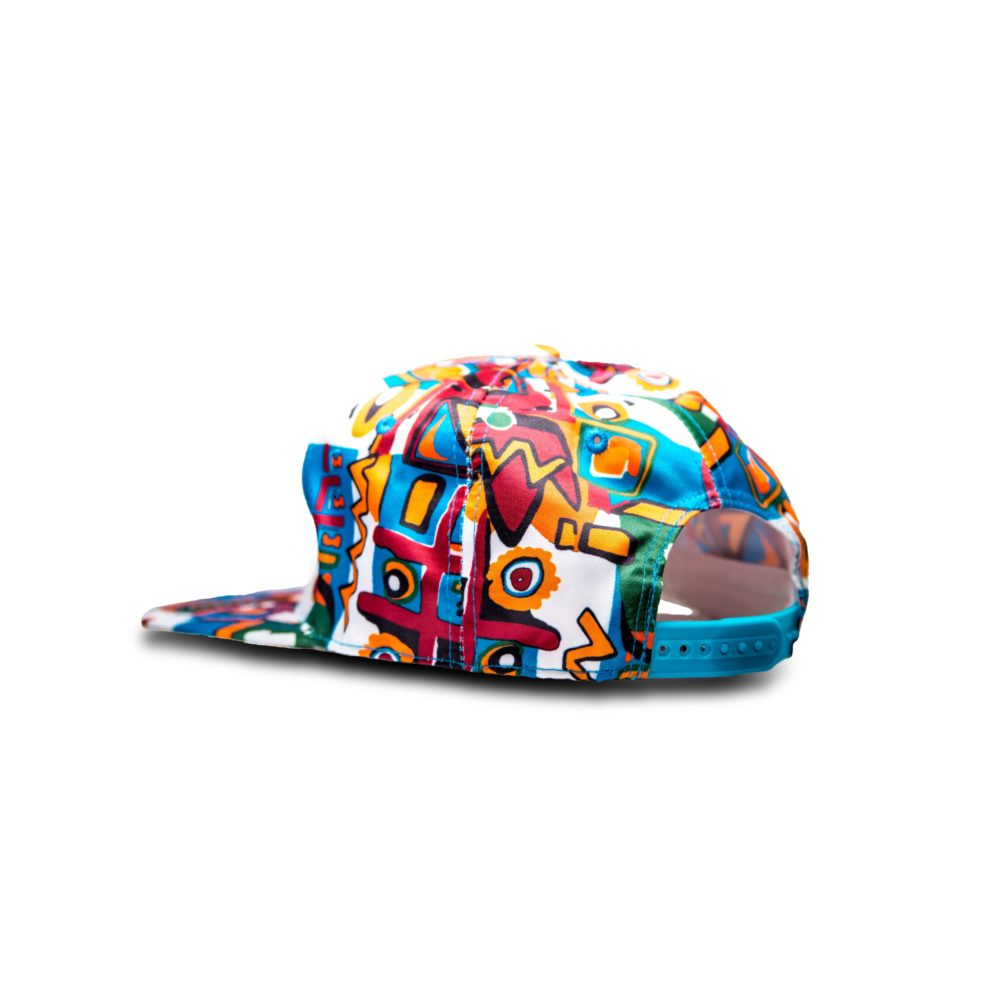 DHFLY-80s-Wild-Child-multi-color-Flat-bill-unisex-baseball-hat-With-adjustable-snapback-closure-back