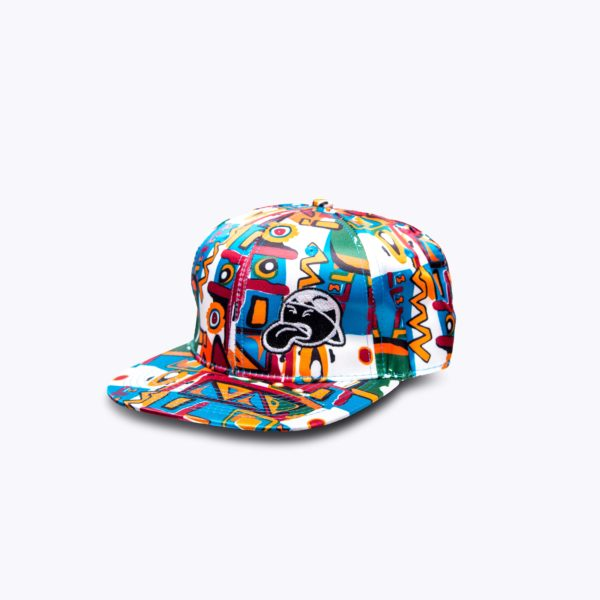 DHFLY-80s-Wild-Child-multi-color-Flat-bill-unisex-baseball-hat-With-adjustable-snapback-closure-front