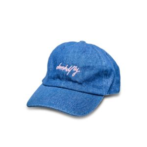 DHFLY-Signature-denim-dad-hat-brass-buckle-pink